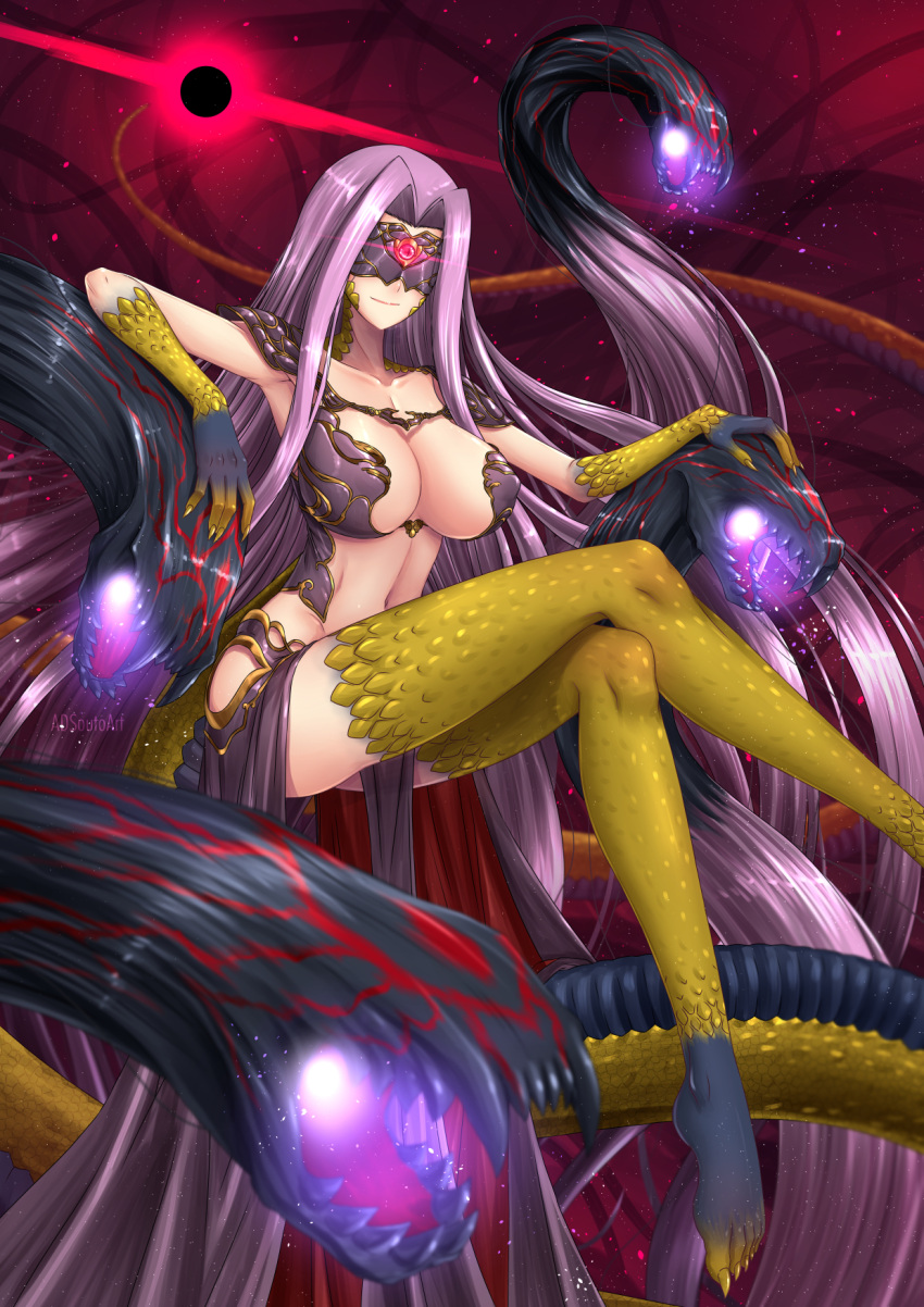 1girl adsouto blindfold blush breasts bustier claws cleavage cleavage_cutout commentary domino_mask english_commentary fate/grand_order fate_(series) fingernails glowing glowing_eye gorgon_(fate) highres huge_breasts large_breasts long_fingernails long_hair mask monster_girl navel pelvic_curtain purple_hair rider scales slit_pupils smile snake solo square_pupils very_long_hair