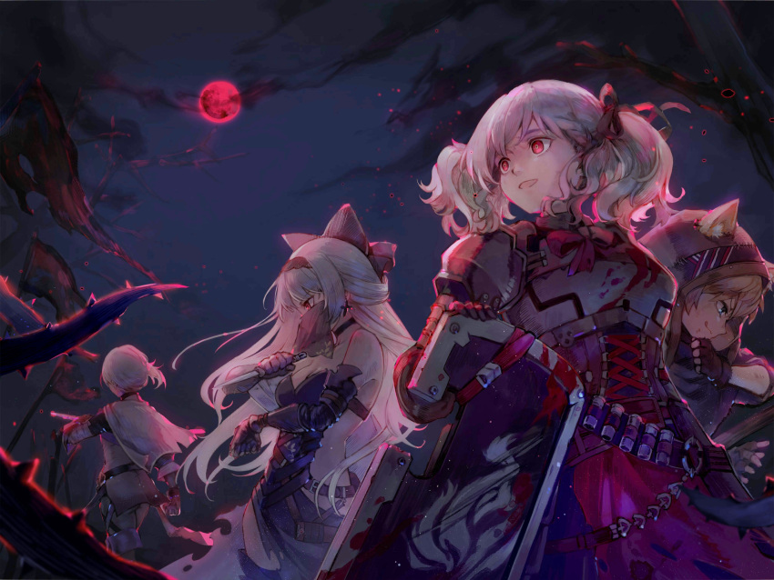 alternate_costume alternate_hairstyle animal_ears armor axe bandolier battle_axe blood blood_stain breasts cat_ears cleavage dagger dancer fantasy forest full_moon girls_frontline glowing glowing_eyes highres hood idw_(girls_frontline) knife knight moon nature night official_art red_eyes shotgun_shells shuzi spas-12_(girls_frontline) thief thompson/center_contender_(girls_frontline) tokarev_(girls_frontline) twintails weapon
