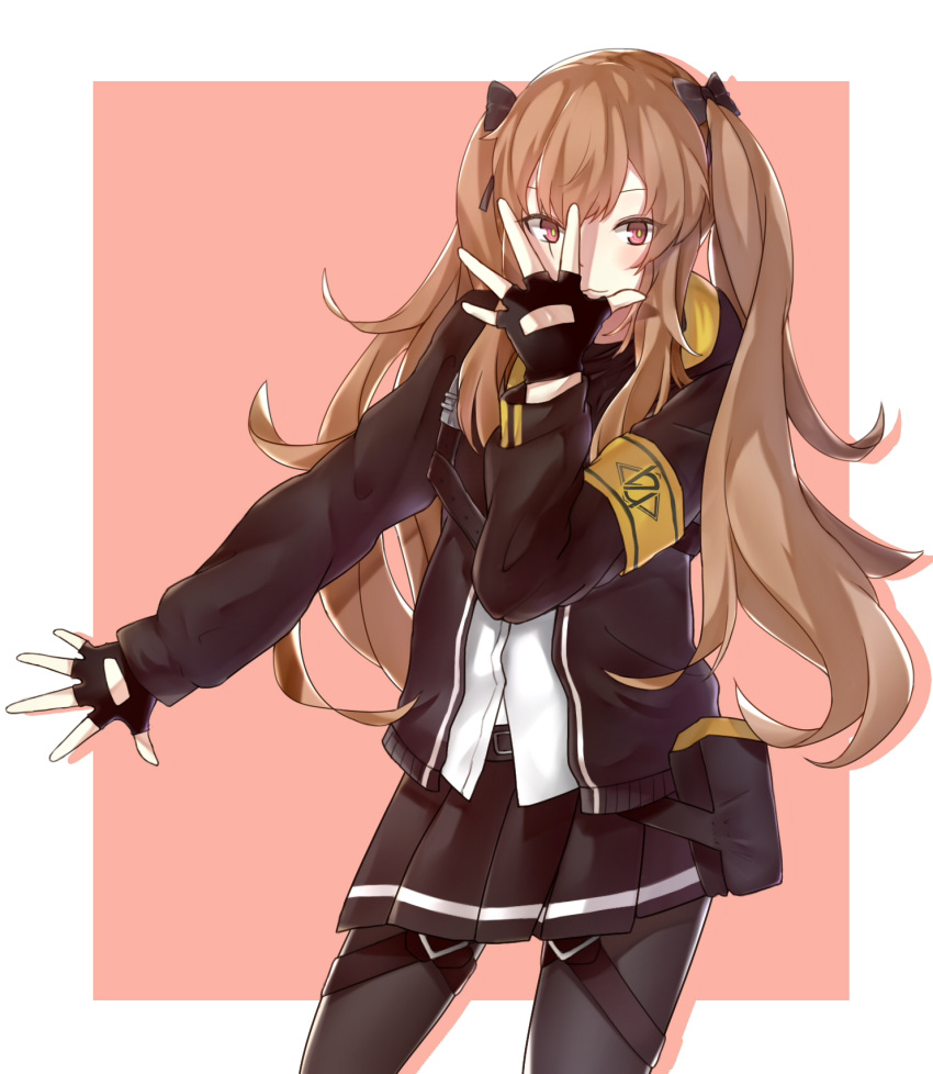 :3 armband bangs belt belt_pouch black_gloves black_jacket black_legwear black_pouch black_ribbon black_scarf black_skirt blush brown_hair chest_belt commentary_request covering_face faino fingerless_gloves girls_frontline gloves hair_ribbon hand_over_face highres hood hooded_jacket jacket jojo_pose long_hair looking_at_viewer multicolored multicolored_eyes open_clothes open_jacket pantyhose pink_background pose pouch red_eyes ribbon scarf shirt skirt smile ump9_(girls_frontline) very_long_hair white_shirt yellow_eyes