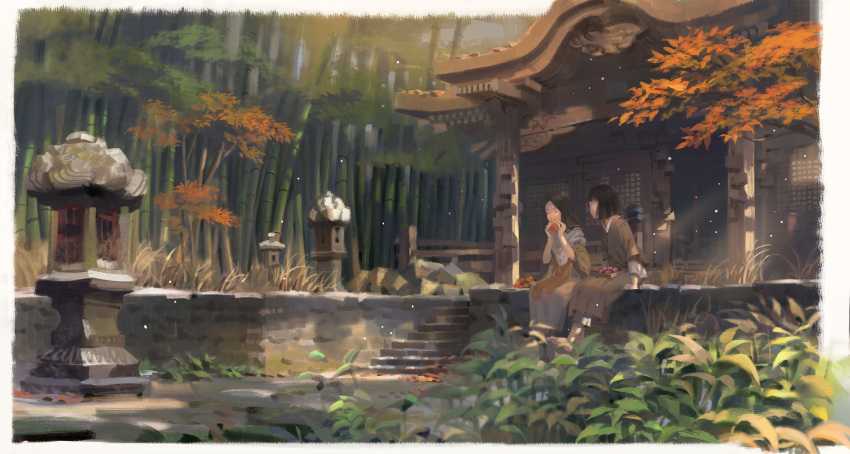 1boy 1girl absurdres architecture bamboo bamboo_forest bangs barefoot black_hair border brown_hair building closed_eyes commentary_request divine_child_of_rejuvenation east_asian_architecture eating forest highres japanese_clothes kimono kuro_the_divine_heir long_hair nature psi_(583278318) scenery sekiro:_shadows_die_twice sitting stairs stone_lantern tree white_border