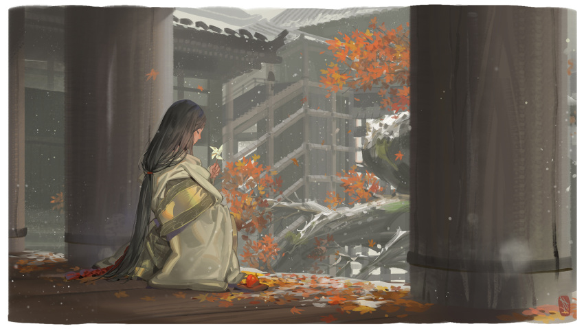 1girl alphonse_(white_datura) architecture autumn_leaves black_hair building closed_eyes day divine_child_of_rejuvenation east_asian_architecture from_behind highres japanese_clothes long_hair profile sekiro:_shadows_die_twice sitting snowing solo