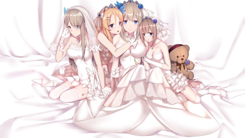 4girls bare_shoulders blonde_hair blue_eyes breasts bridal_veil bride dress flower garter_straps gloves hair_ornament hairclip jewelry large_breasts lexington_(cv-16)_(warship_girls_r) lexington_(warship_girls_r) long_hair multiple_girls phelps_(warship_girls_r) ring saratoga_(warship_girls_r) short_dress sidelocks smile thigh-highs veil warship_girls_r wedding_band wedding_dress white_dress white_flower white_gloves white_legwear wife_and_wife zhixiang_zhi