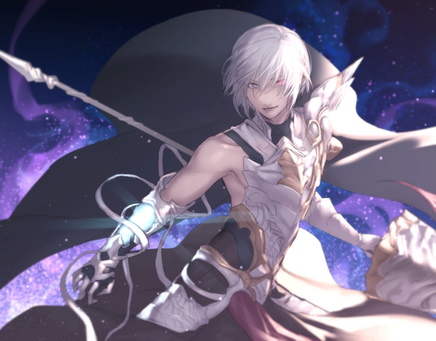 1boy armor bandage bare_shoulders black_cape cape collarbone covered_collarbone gauntlets gloves glowing glowing_eye granblue_fantasy grimnir holding holding_lance holding_weapon lance parted_lips polearm shingeki_no_bahamut smile solo standing tight violet_eyes weapon white_gloves white_hair yuusya27