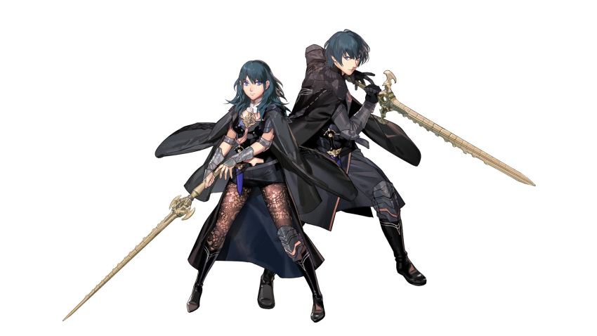 1boy 1girl arm_guards bangs black_footwear black_pants blue_eyes blue_hair boots byleth coat dagger elbow_pads eyebrows_visible_through_hair fire_emblem fire_emblem:_fuukasetsugetsu full_body gloves highres holding holding_sword holding_weapon jacket_on_shoulders knee_boots knee_pads kurahana_chinatsu long_hair long_sleeves looking_at_viewer nintendo official_art pants pantyhose serious short_hair short_shorts shorts simple_background sword weapon white_background