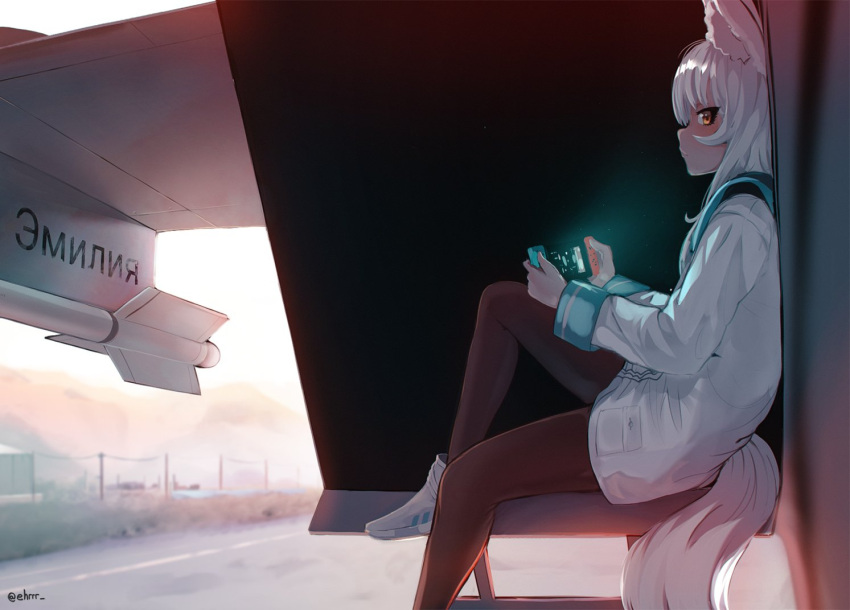1girl aircraft airplane animal_ear_fluff animal_ears black_legwear commentary commission cyrillic day ehrrr english_commentary fighter_jet fox_ears fox_tail handheld_game_console jet looking_at_viewer looking_to_the_side mig-31 military military_vehicle nintendo_switch original outdoors pantyhose personification playing_games runway russian_text screen_light sitting solo tail translation_request white_hair yellow_eyes