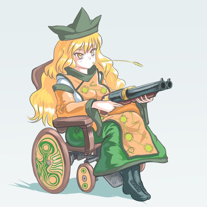 1girl black_footwear blonde_hair boots chinese_clothes cross-laced_footwear double_barrels expressionless eyebrows_visible_through_hair green_headwear grey_background gun hair_between_eyes hat highres holding holding_gun holding_weapon lace-up_boots long_hair matara_okina profitshame shotgun sitting tabard touhou v-shaped_eyebrows very_long_hair weapon wheat wheelchair wide_sleeves yellow_eyes