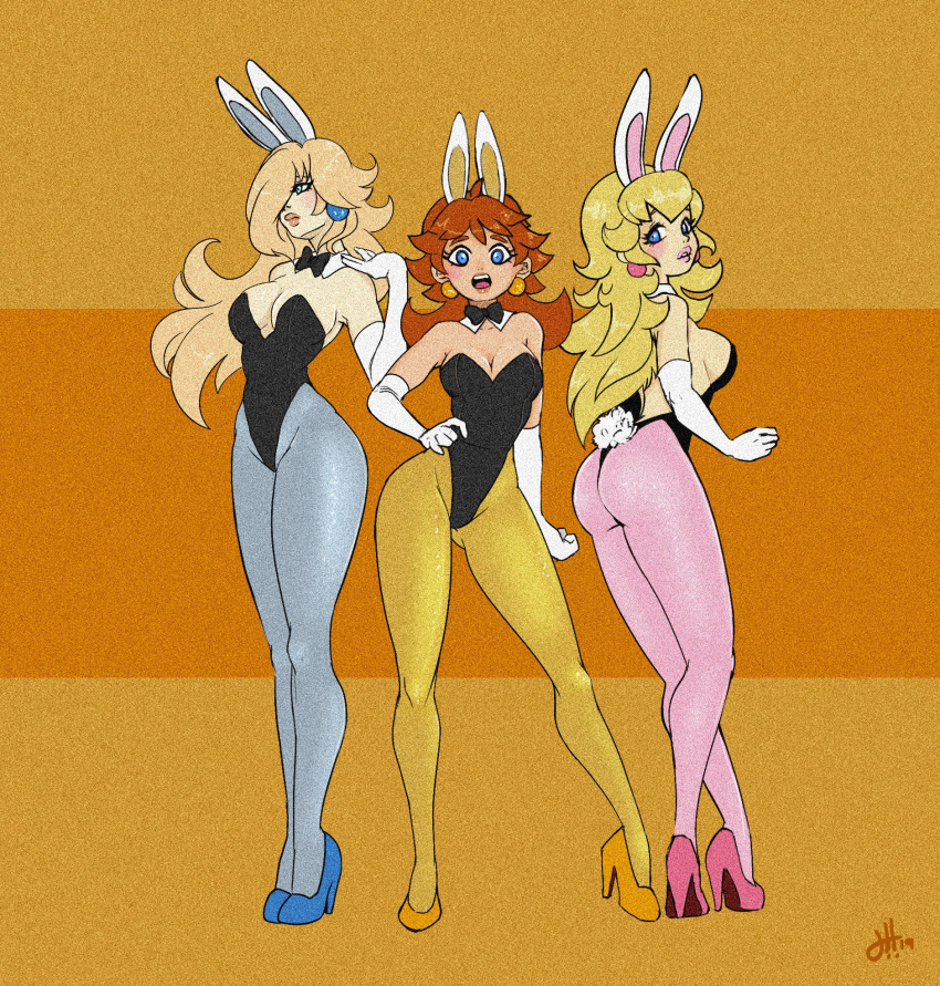 3girls animal_ears ass bangs bare_shoulders black_leotard black_neckwear blonde_hair blue_earrings blue_eyes blue_footwear blue_legwear bow bowtie breasts brown_hair bunny_tail bunnysuit cleavage contrapposto detached_collar earrings elbow_gloves enchant fake_animal_ears gloves hair_over_one_eye hand_on_hip hand_up high_heels highres jewelry large_breasts leotard lips long_hair looking_at_viewer mario_(series) multiple_girls nintendo open_mouth pantyhose parted_lips pink_earrings pink_footwear pink_legwear princess_daisy princess_peach rabbit_ears rosalina sideboob standing strapless strapless_leotard super_mario_bros. super_mario_galaxy tail very_long_hair white_gloves yellow_earrings yellow_footwear yellow_legwear