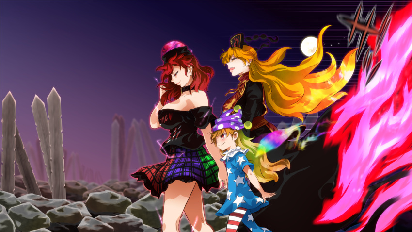 3girls :d american_flag_dress american_flag_legwear aura bare_shoulders black_choker black_dress black_shirt blade blue_dress blue_legwear blush breasts choker clothes_writing clownpiece commentary_request dress fairy_wings feet_out_of_frame floating_hair from_side full_moon gradient_sky green_skirt half-closed_eyes hand_up hat headdress hecatia_lapislazuli jester_cap junko_(touhou) large_breasts long_hair long_sleeves looking_down moon motion_lines multicolored multicolored_clothes multicolored_skirt multiple_girls neck_ribbon neck_ruff off-shoulder_shirt off_shoulder open_mouth orange_hair outdoors pantyhose parted_lips pink_eyes plaid plaid_skirt polka_dot polka_dot_hat polos_crown profile purple_headwear purple_skirt purple_sky red_eyes red_legwear red_sash red_skirt redhead ribbon rock sash shirt short_sleeves shundou_heishirou skirt sky smile star star_print striped striped_legwear t-shirt tabard tassel thighs touhou very_long_hair walking white_legwear wings yellow_neckwear yellow_ribbon