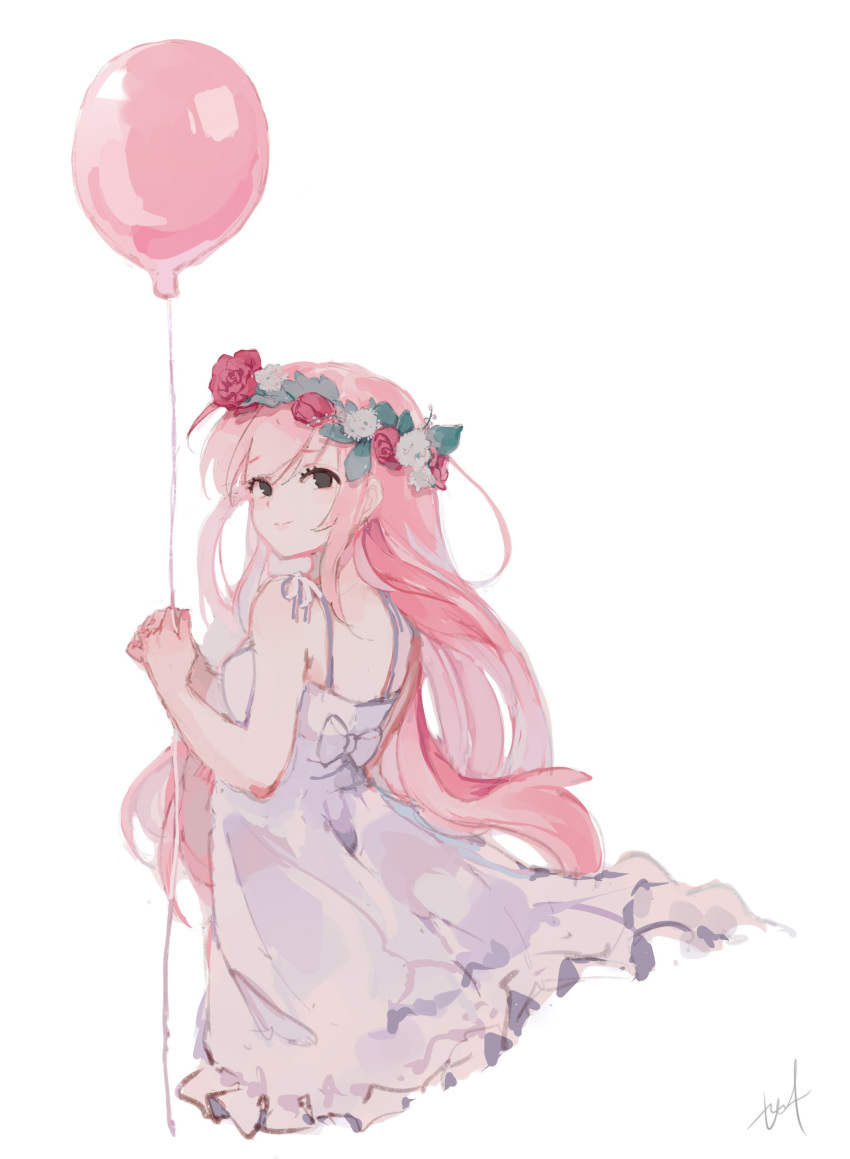 1girl absurdres alternate_hairstyle balloon bangs bow dress flower from_behind head_wreath highres hyde_(hai-do) just_be_friends_(vocaloid) long_hair looking_at_viewer looking_back megurine_luka pink_hair ribbon simple_background smile solo string vocaloid white_background white_dress