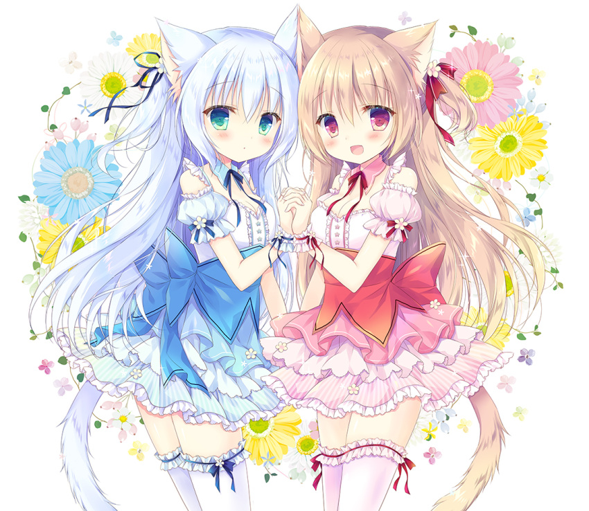 2girls :d animal_ear_fluff animal_ears bangs blue_flower blue_hair blue_skirt blue_sleeves blush cat_ears cat_girl cat_tail commentary_request detached_sleeves eyebrows_visible_through_hair flower frilled_legwear frilled_skirt frills green_eyes hair_between_eyes hasekura_chiaki light_brown_hair long_hair looking_at_viewer multiple_girls open_mouth original pink_skirt pink_sleeves pleated_skirt puffy_short_sleeves puffy_sleeves red_eyes red_flower shirt short_sleeves skirt smile striped tail thigh-highs vertical-striped_skirt vertical_stripes very_long_hair white_flower white_legwear white_shirt wrist_cuffs yellow_flower