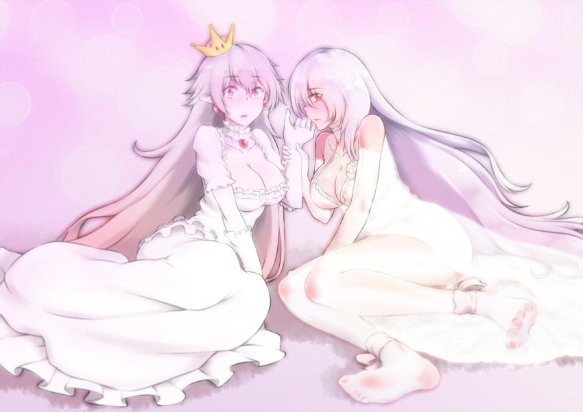2girls ankle_bow ankle_ribbon bangs bare_shoulders barefoot bow breasts cleavage collarbone copyright_request couple crossover crown dress earrings frilled_dress frilled_sleeves frills girls_frontline gloves hand_up jewelry long_hair looking_at_viewer mario_(series) multiple_girls nintendo pale_color pale_skin pk_(girls_frontline) pointy_ears princess princess_king_boo profile ribbon see-through see-through_silhouette silver_hair spread_toes super_crown tilted_headwear very_long_hair violet_eyes white_dress white_gloves wide-eyed wrist_grab yamauchi_(conan-comy) yuri