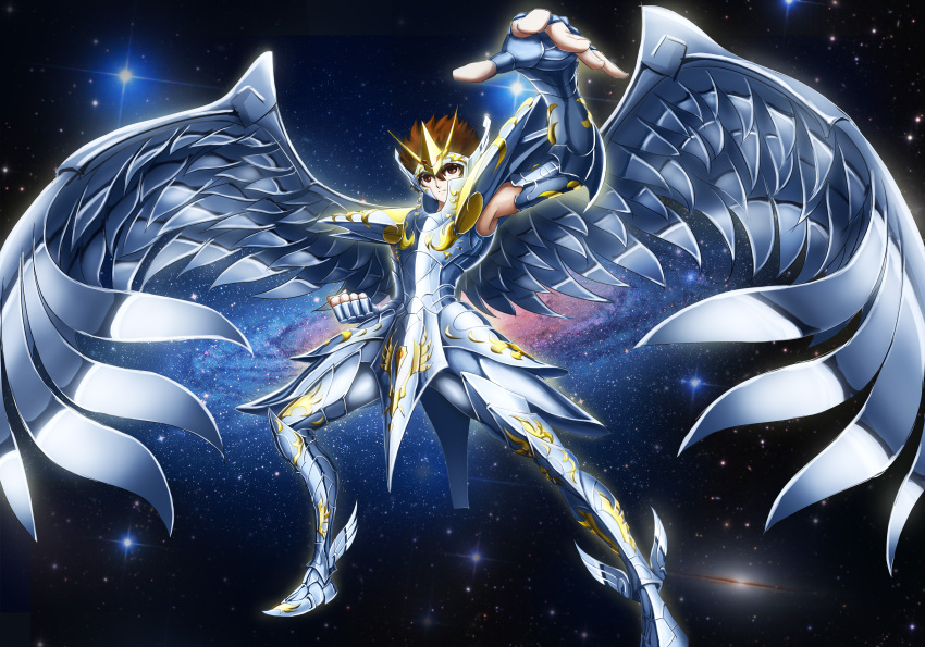 1boy absurdres angel_wings armor armored_boots bird_wings boots brown_eyes brown_hair fingerless_gloves galaxy gauntlets gloves gt_shoukyou highres large_wings male_focus martial_arts metal_boots metal_wings pegasus_seiya pose saint_seiya short_hair shoulder_armor solo solo_focus star wings