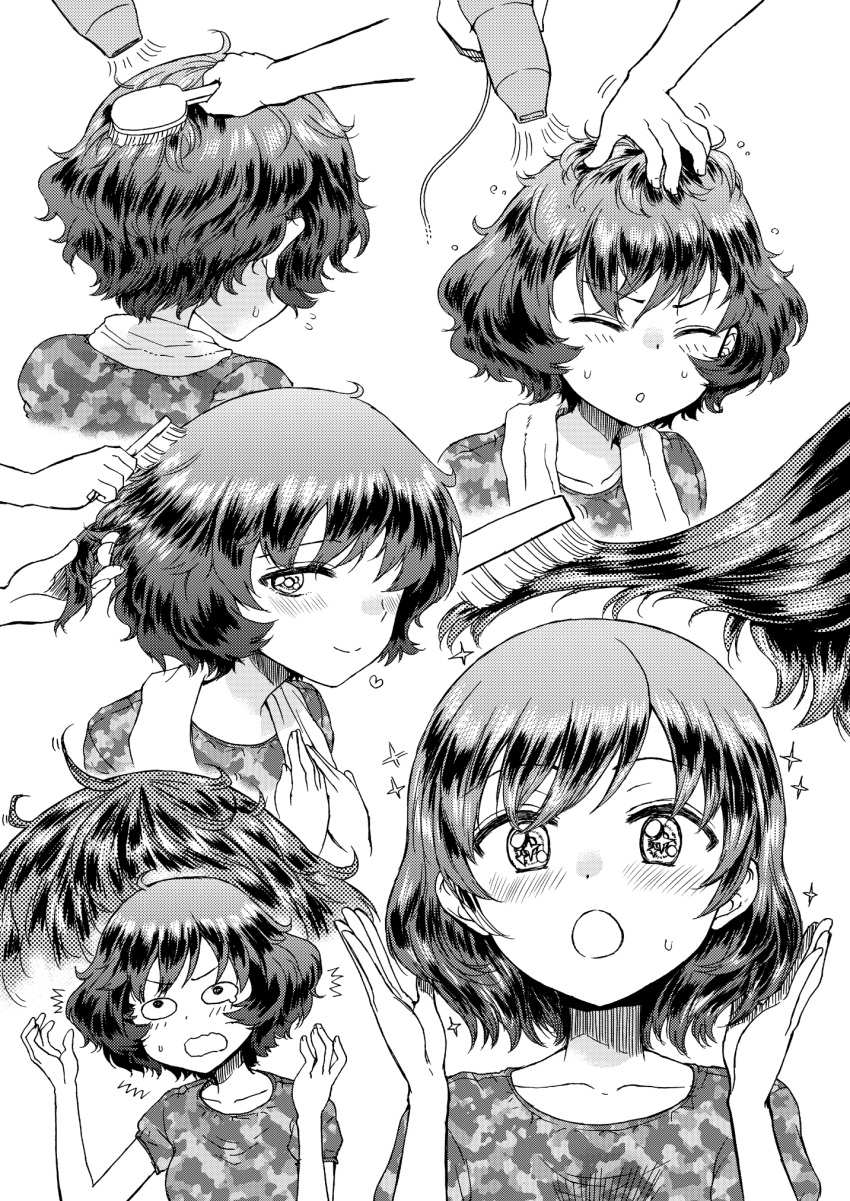 ._. /\/\/\ 1girl :o =_= akiyama_yukari alternate_hairstyle blush camouflage_shirt closed_eyes collarbone doujinshi drying drying_hair ear girls_und_panzer hair_brush hair_brushing hair_down hair_dryer hand_in_another's_hair hand_on_another's_head heart highres hirota_masatane messy_hair monochrome multiple_views petting screentones shirt short_hair short_sleeves shorts sitting smile sparkle sparkling_eyes surprised t-shirt towel towel_around_neck wavy_mouth wide_oval_eyes