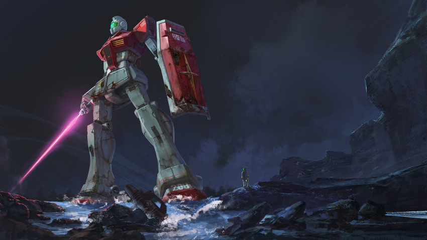 1other battle_damage beam_saber cliff commentary_request dark_sky energy_gun energy_sword fried-noodles-c gm_(mobile_suit) gundam highres holding holding_shield holding_sword holding_weapon looking_to_the_side mecha outdoors pilot_suit river rock scratches shield standing sword weapon