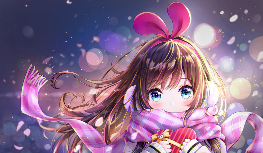 1girl a.i._channel animal_ears blue_eyes blush bow box brown_hair cherry_blossoms dana_(hapong07) fake_animal_ears floating_hair hairband heart-shaped_box highlights highres kizuna_ai lens_flare long_hair long_sleeves looking_at_viewer multicolored_hair pink_hairband pink_scarf plaid plaid_scarf portrait rabbit_ears scarf scarf_over_mouth solo striped sweater valentine virtual_youtuber white_sweater