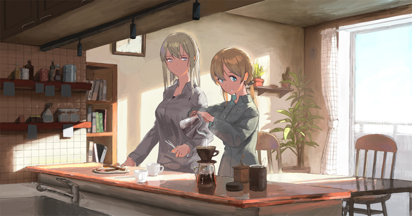 2girls alternate_costume aqua_eyes bangs blonde_hair blue_eyes book bookshelf bottle bread breakfast breasts buttons cabinet chair clock coffee coffee_cup coffee_pot collared_shirt commentary counter cup curtains disposable_cup faucet food fried_egg fried_egg_on_toast fujibejifu graf_zeppelin_(kantai_collection) grey_eyes grey_shirt hair_between_eyes holding_pot indoors iron_cross kantai_collection long_hair long_sleeves low_twintails multiple_girls plant plate potted_plant prinz_eugen prinz_eugen_(kantai_collection) railing shadow shirt sidelocks sink smile steam sticky_note table tree twintails wall_clock window