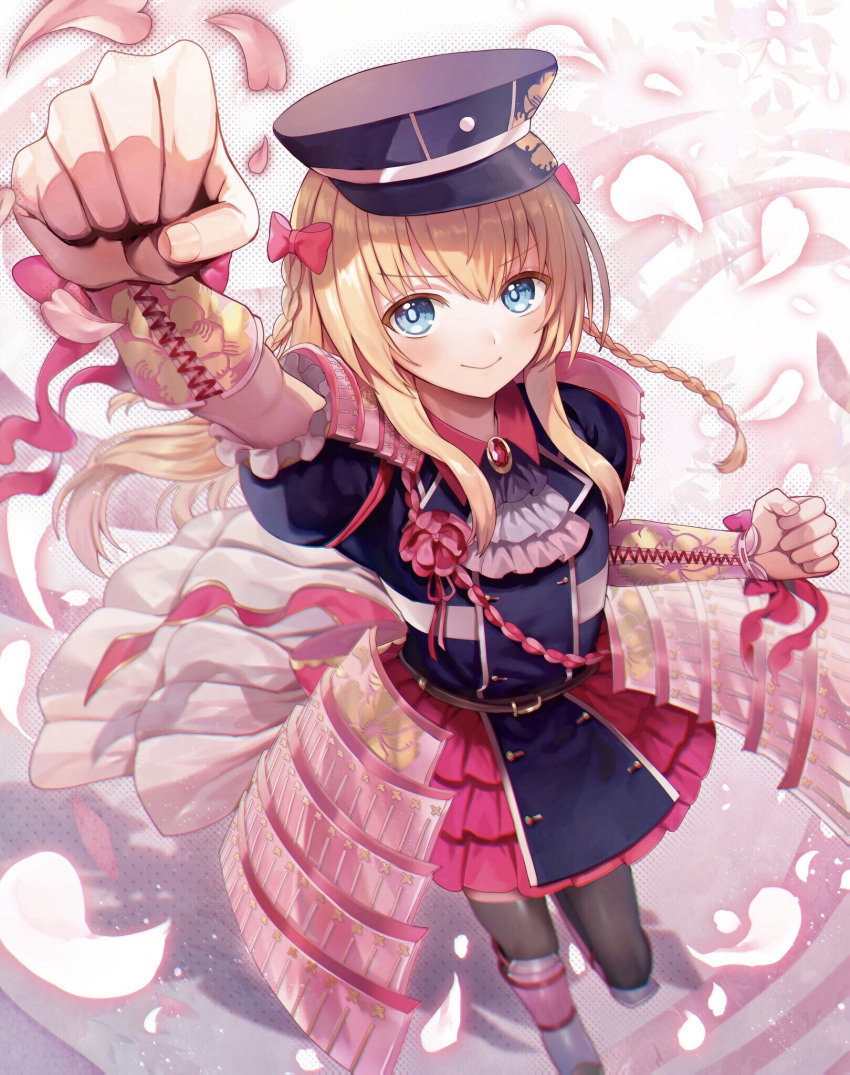 1boy abandon_ranka arm_guards arm_up armor bangs belt black_dress black_headwear blonde_hair blue_eyes blurry bow braid brooch brown_legwear clenched_hand closed_mouth collared_dress commentary_request cravat depth_of_field dress eyebrows_visible_through_hair fingernails fist_pump floating_hair flower foreshortening frilled_sleeves frills from_above full_body hair_between_eyes hair_bow hand_up hat highres japanese_armor jewelry kiwame_(touken_ranbu) kote layered_skirt long_hair looking_at_viewer male_focus midare_toushirou military military_uniform outstretched_arm peaked_cap petals pink_armor pink_bow pink_ribbon pink_skirt ribbon shadow shiny shiny_hair short_sleeves shoulder_armor sidelocks skirt smile sode solo standing thigh-highs touken_ranbu trap twin_braids uniform v-shaped_eyebrows wrist_ribbon