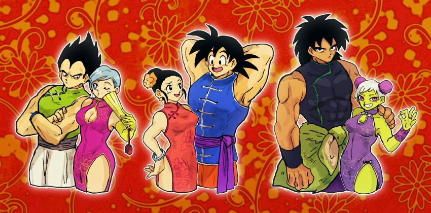 3boys 3girls arm_around_shoulder arm_hug armpits arms_behind_head black_hair blue_hair bracelet breasts broly_(dragon_ball_super) bulma bun_cover cheelai chi-chi_(dragon_ball) china_dress chinese_clothes cleavage cleavage_cutout couple cropped_legs crossed_arms double_bun dragon_ball dragon_ball_super_broly dragonball_z dress floral_background green_skin hair_bun highres jewelry looking_at_another looking_at_viewer multiple_boys multiple_girls muscle ok_sign pelt red_background ring short_hair sleeveless sleeveless_dress smile son_gokuu spiky_hair tan tofu_(tttto_f) vegeta white_hair wristband