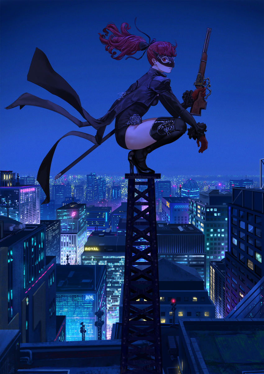 1girl antique_firearm black_bow black_legwear black_leotard bow building city coattails cropped_jacket firearm firelock flintlock frilled_sleeves frills gloves gun hair_bow high_heels highres justin_leyva_(steamy_tomato) leotard looking_at_viewer mask night night_sky persona persona_5 persona_5_the_royal ponytail radio_tower red_eyes red_gloves redhead rifle rooftop scabbard sheath sky smile solo squatting thigh-highs tower weapon yoshizawa_kasumi