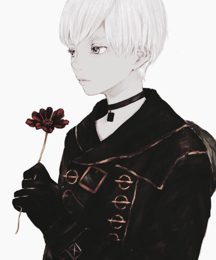 1boy bangs collar flower highres holding holding_flower male_focus nier_(series) nier_automata red_flower shirone_(coxo_ii) short_hair silver_hair simple_background solo upper_body white_background white_eyes yorha_no._9_type_s