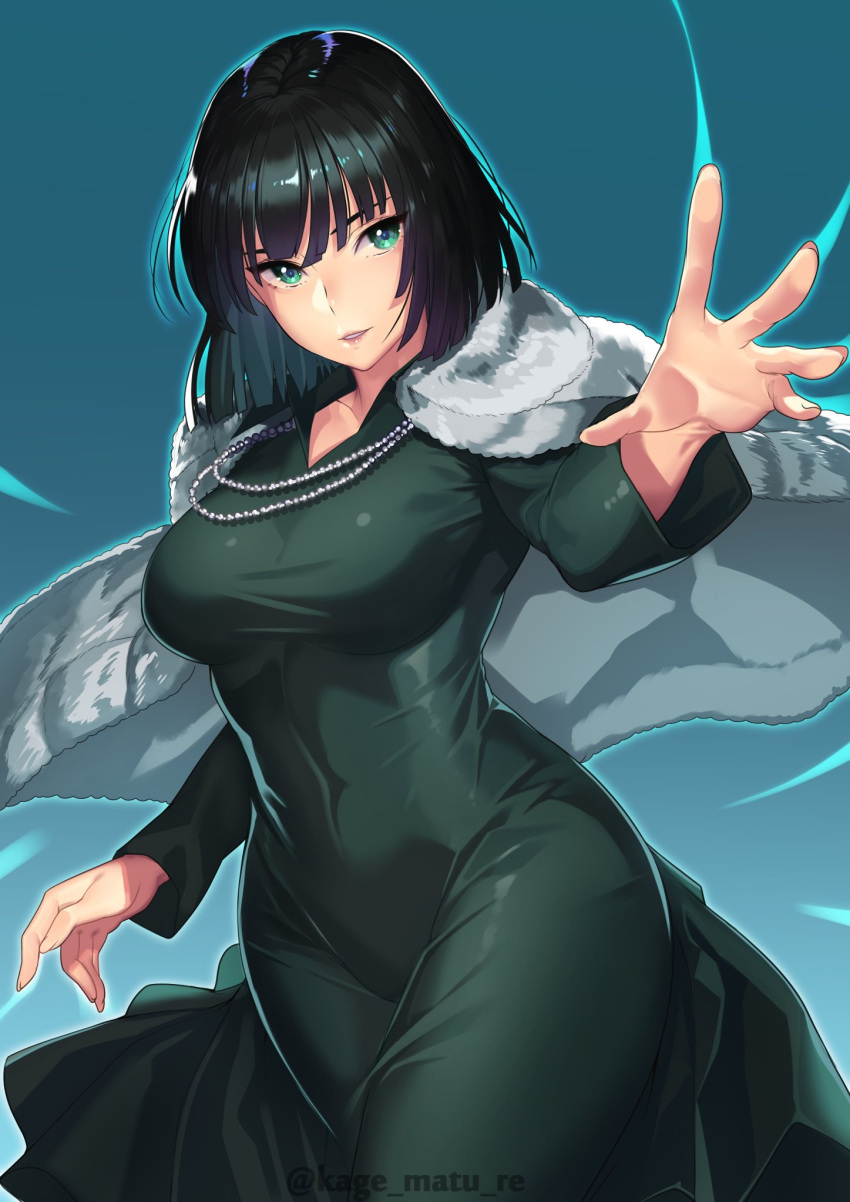 1girl bangs black_dress black_hair breasts closed_mouth covered_navel cowboy_shot dress fubuki_(one-punch_man) fur_coat green_dress green_eyes highres jacket jacket_on_shoulders jewelry kagematsuri long_sleeves looking_at_viewer medium_breasts necklace one-punch_man outstretched_arm parted_lips short_hair simple_background solo standing telekinesis twitter_username
