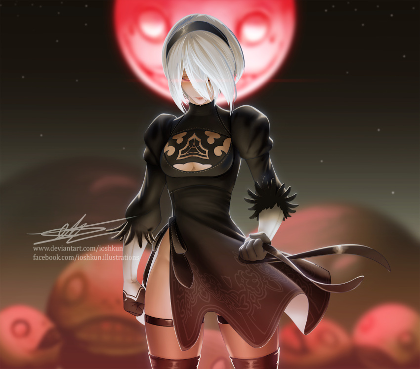 1girl black_dress black_hairband blindfold_removed breasts cleavage_cutout clenched_hands closed_eyes commentary dress english_commentary feather-trimmed_sleeves full_moon hairband highres ioshkun juliet_sleeves long_sleeves medium_breasts mole mole_under_mouth moon nier_(series) nier_automata no_blindfold no_bra puffy_sleeves red_moon robot sheer_legwear side_slit signature silver_hair solo thigh-highs thighhighs_under_boots watermark web_address yorha_no._2_type_b