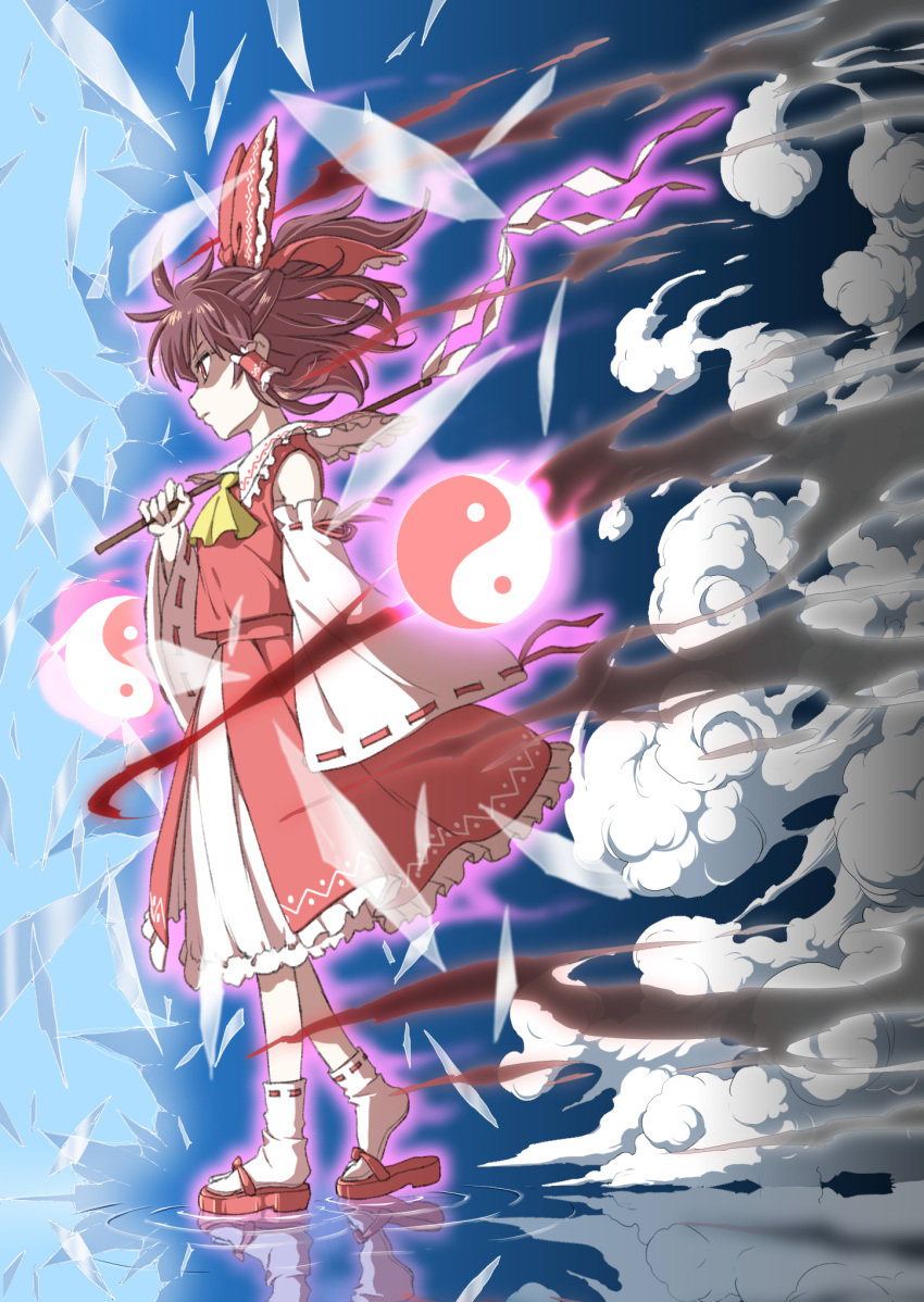 1girl ascot aura bare_shoulders bow broken_glass brown_eyes brown_hair clouds commentary_request detached_sleeves frilled_bow frilled_shirt_collar frills from_side full_body glass gohei hair_bow hair_tubes hakurei_reimu half_updo highres holding inuno_rakugaki long_sleeves petticoat profile red_bow red_footwear red_skirt reflection ribbon-trimmed_legwear ribbon-trimmed_sleeves ribbon_trim ripples sandals shattered short_hair sidelocks skirt skirt_set socks solo touhou walking white_legwear wide_sleeves yellow_neckwear yin_yang