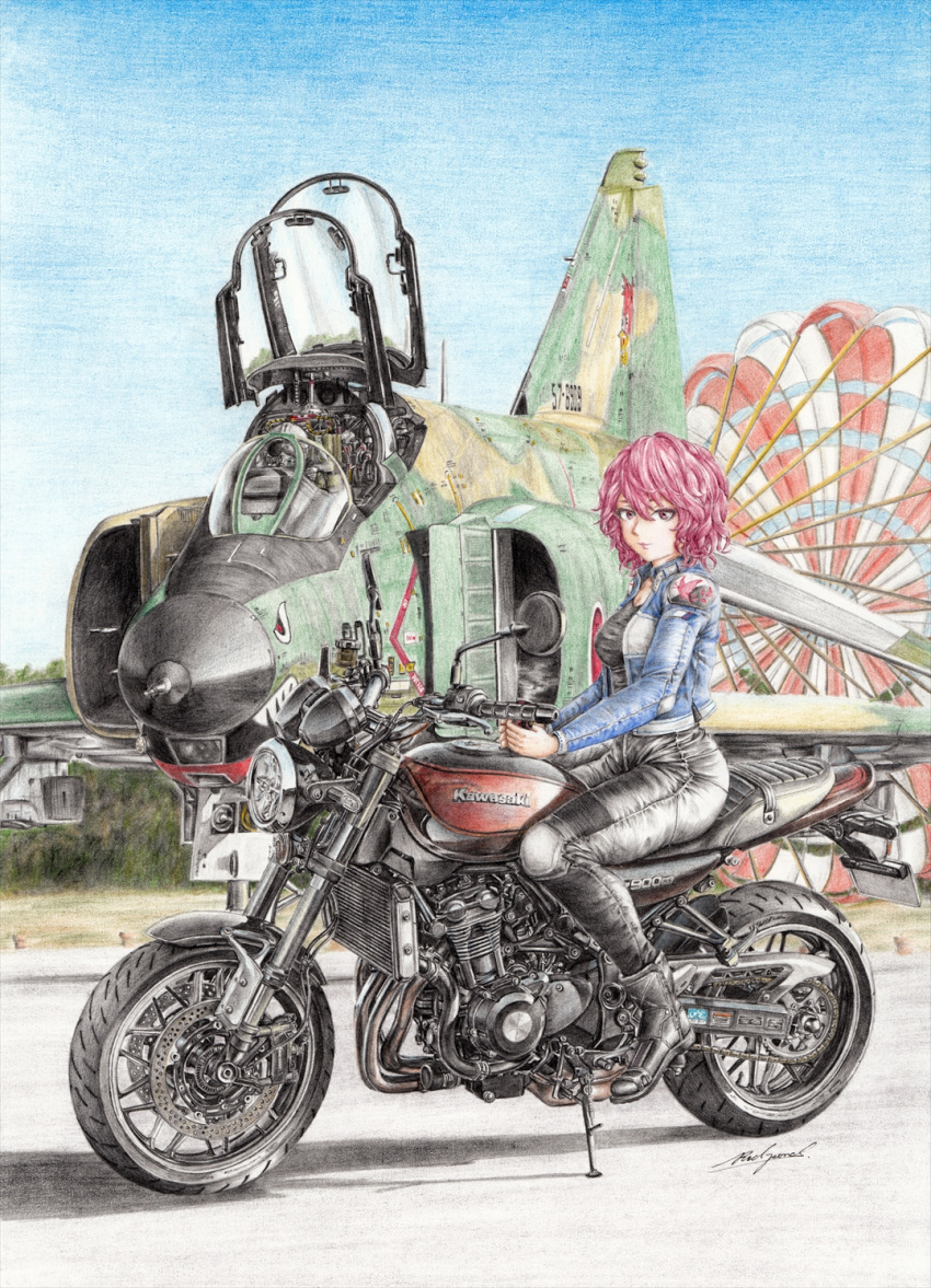1girl 1other aircraft airplane alternate_costume ambiguous_gender black_footwear black_pants black_shirt blue_sky boots breasts colored_pencil_(medium) commentary_request contemporary curly_hair day expressionless f-4_phantom_ii fighter_jet ground_vehicle hair_between_eyes hand_rest hands_together highres jacket japan_air_self-defense_force japan_self-defense_force jet kawasaki kawasaki_z900rs looking_at_viewer medium_breasts military military_vehicle motor_vehicle motorcycle no_hat no_headwear open_cockpit outdoors pants parachute pilot pilot_helmet pink_eyes pink_hair product_placement rpracing saigyouji_yuyuko shirt short_hair sky touhou traditional_media