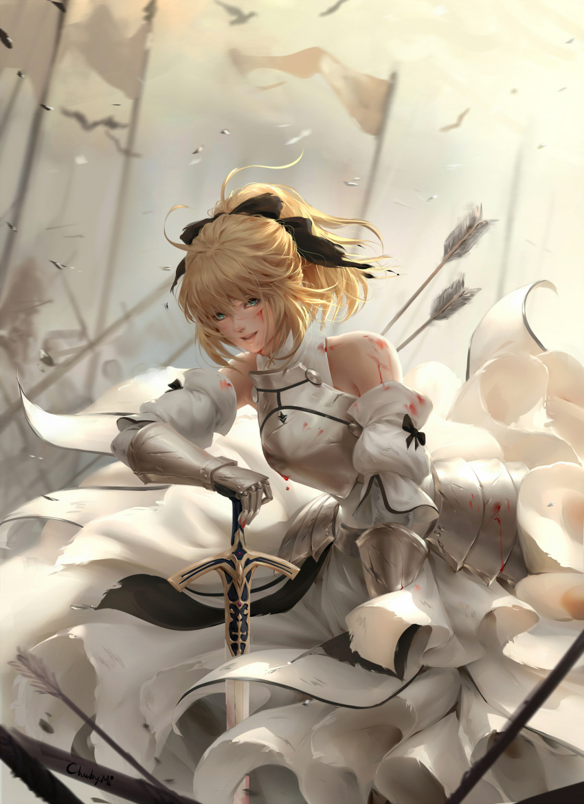 1girl :d ahoge aqua_eyes arm_support armor armored_dress arrow arrow_in_body artist_name artoria_pendragon_(all) bangs banner bare_shoulders bird black_bow blonde_hair blood blood_on_face bloody_clothes blurry bow breastplate caliburn chuby_mi commentary depth_of_field detached_sleeves dress english_commentary fate/unlimited_codes fate_(series) faulds gauntlets hair_bow highres injury layered_dress leaning_forward long_hair open_mouth ponytail saber_lily sign smile solo sword weapon white_dress