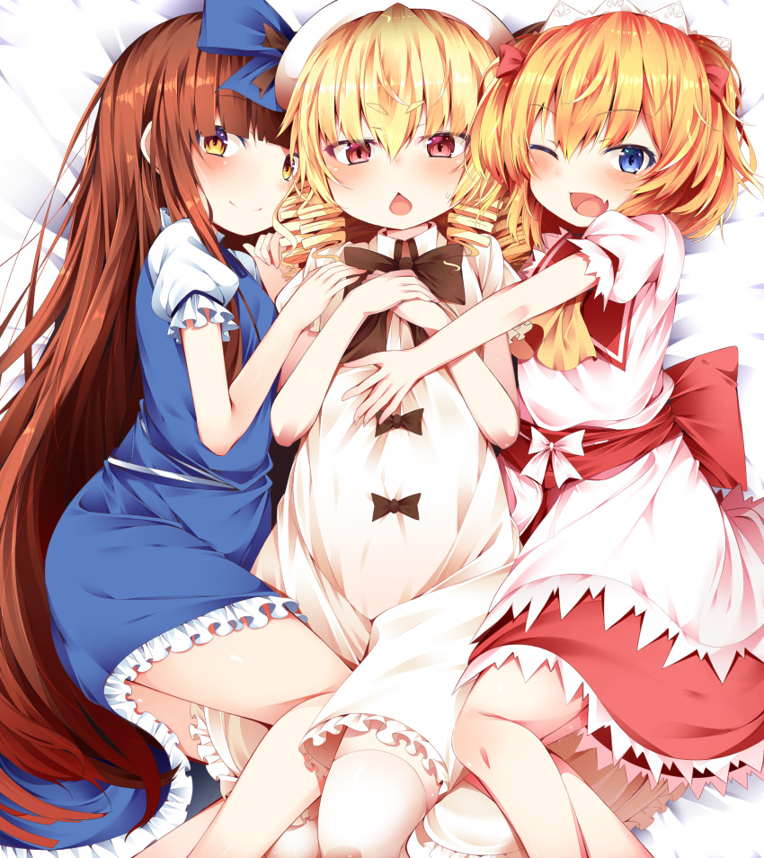 3girls bangs black_bow blonde_hair blue_bow blue_dress blue_eyes blunt_bangs blush bow brown_hair buta_(uhoiiotoko) chestnut_mouth child closed_mouth commentary_request dress drill_hair eyebrows_visible_through_hair fang frilled_dress frills hair_bow hands_together hat highres long_hair looking_at_viewer luna_child lying multiple_girls one_eye_closed open_mouth puffy_short_sleeves puffy_sleeves red_bow red_eyes red_skirt short_hair short_sleeves skin_fang skirt smile star_sapphire sunny_milk sweatdrop thigh-highs touhou very_long_hair white_bow white_dress white_legwear yellow_eyes