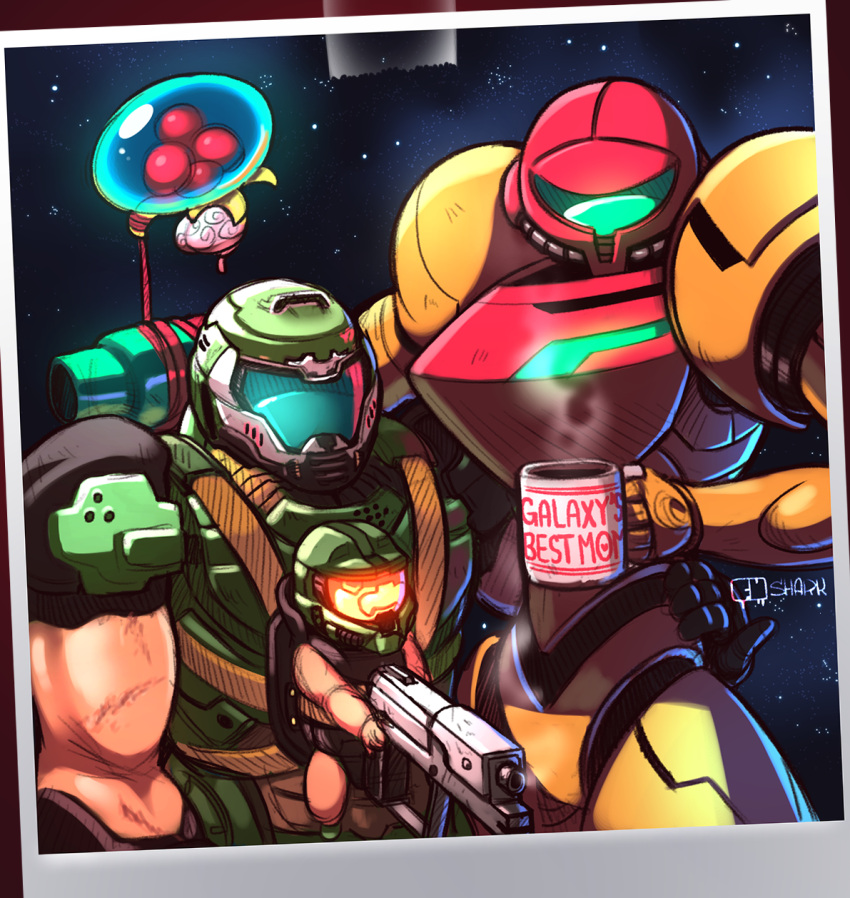 1girl 2boys alien arm_around_waist arm_cannon baby baby_carrier coffee coffee_mug commentary commission covered_face crossover cup doom_(game) doomguy english_commentary family fu_shark gun halo_(game) handgun height_difference helmet highres if_they_mated master_chief metroid metroid_(creature) mug multiple_boys multiple_crossover muscle nintendo pinky_out pistol polaroid power_armor power_suit samus_aran shoulder_armor slender_waist trait_connection varia_suit weapon