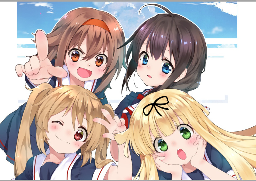 4girls ahoge black_hair black_ribbon black_serafuku blonde_hair blue_eyes blush braid brown_hair commentary_request green_eyes hair_flaps hair_over_shoulder hair_ribbon hairband hand_up hands_on_own_cheeks hands_on_own_face kantai_collection light_brown_hair long_hair malino_(dream_maker) multiple_girls murasame_(kantai_collection) neckerchief one_eye_closed open_mouth orange_eyes pointing red_eyes red_hairband ribbon sailor_collar school_uniform serafuku shigure_(kantai_collection) shiratsuyu_(kantai_collection) short_hair short_sleeves smile straight_hair twintails v yuudachi_(kantai_collection)
