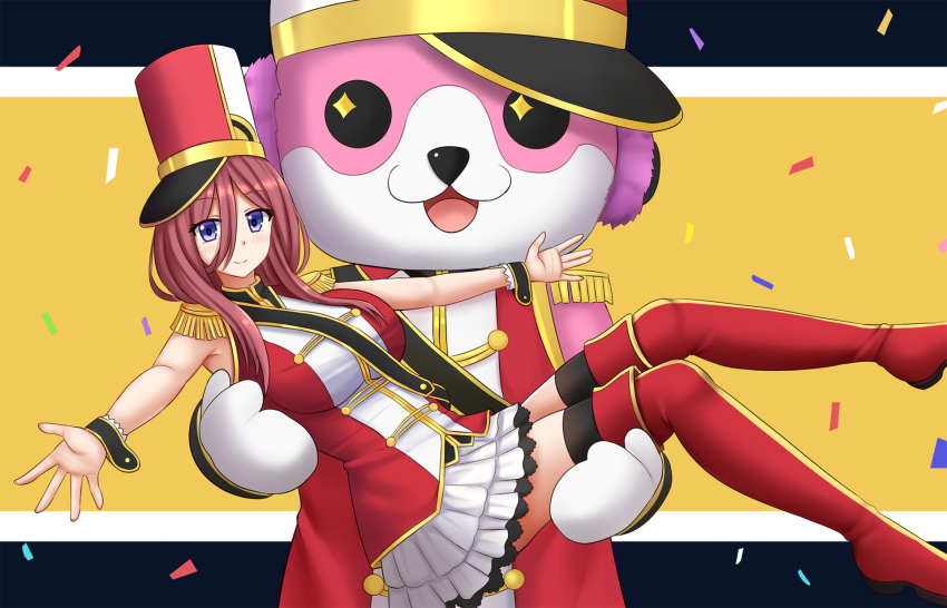 1girl animal_costume bang_dream! bangs bear_costume black_legwear blush boots breasts brown_hair carrying closed_mouth commentary confetti cosplay crossover english_commentary epaulettes eyebrows_visible_through_hair go-toubun_no_hanayome hair_between_eyes hat highres itou_miku jacket kazenokaze long_hair mascot_costume medium_breasts michelle_(bang_dream!) nakano_miku outstretched_arms pleated_skirt princess_carry red_footwear red_headwear red_jacket red_legwear seiyuu_connection shako_cap skirt sleeveless_jacket smile sparkling_eyes thigh-highs thigh_boots tsurumaki_kokoro tsurumaki_kokoro_(cosplay) violet_eyes white_skirt wrist_cuffs