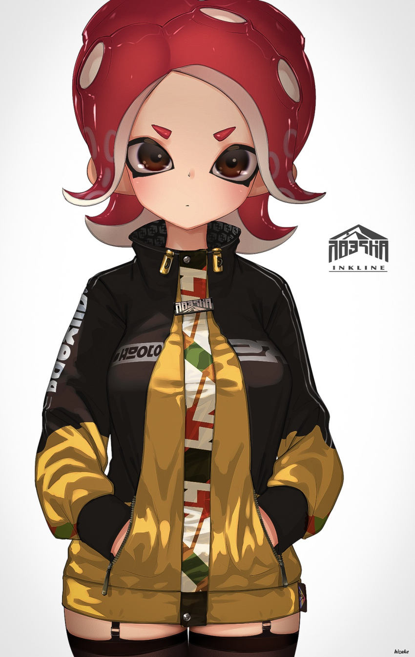 1girl artist_name black_hoodie black_legwear brown_eyes closed_mouth clothes_writing cowboy_shot garter_straps hands_in_pockets high_collar highres inkling_(language) kashu_(hizake) long_sleeves looking_at_viewer octarian octoling pointy_ears redhead shiny shiny_hair short_eyebrows short_hair sidelocks simple_background solo splatoon splatoon_(series) splatoon_2 splatoon_2:_octo_expansion standing suction_cups tentacle_hair thigh-highs unzipped v-shaped_eyebrows white_background yellow_hoodie zipper_pull_tab