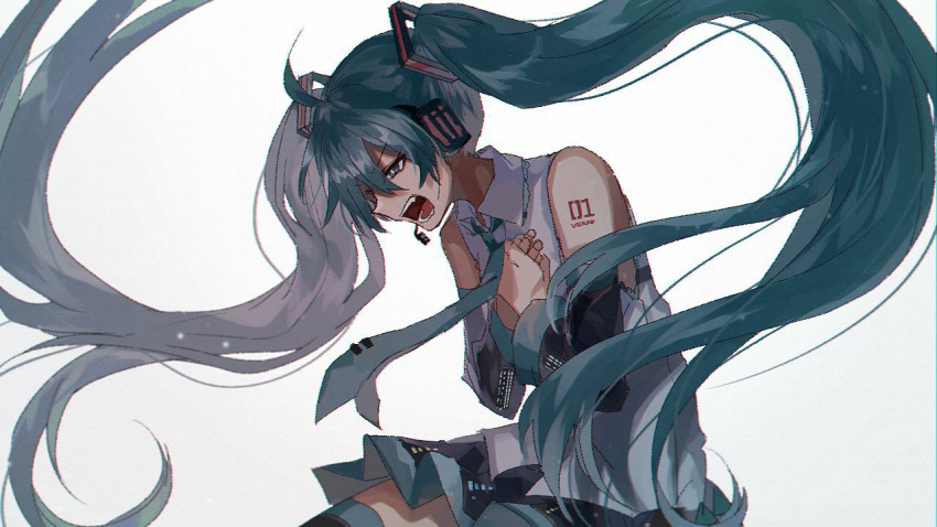 1girl black_skirt blue_hair blue_neckwear danjou_sora detached_sleeves floating_hair frown half-closed_eyes hands_on_own_chest hatsune_miku headset long_hair looking_down necktie number_tattoo open_mouth pleated_skirt sharp_teeth shirt shoulder_tattoo simple_background skirt sleeveless sleeveless_shirt solo tattoo teeth thigh-highs twintails upper_body v-shaped_eyebrows very_long_hair vocaloid white_background white_shirt zettai_ryouiki