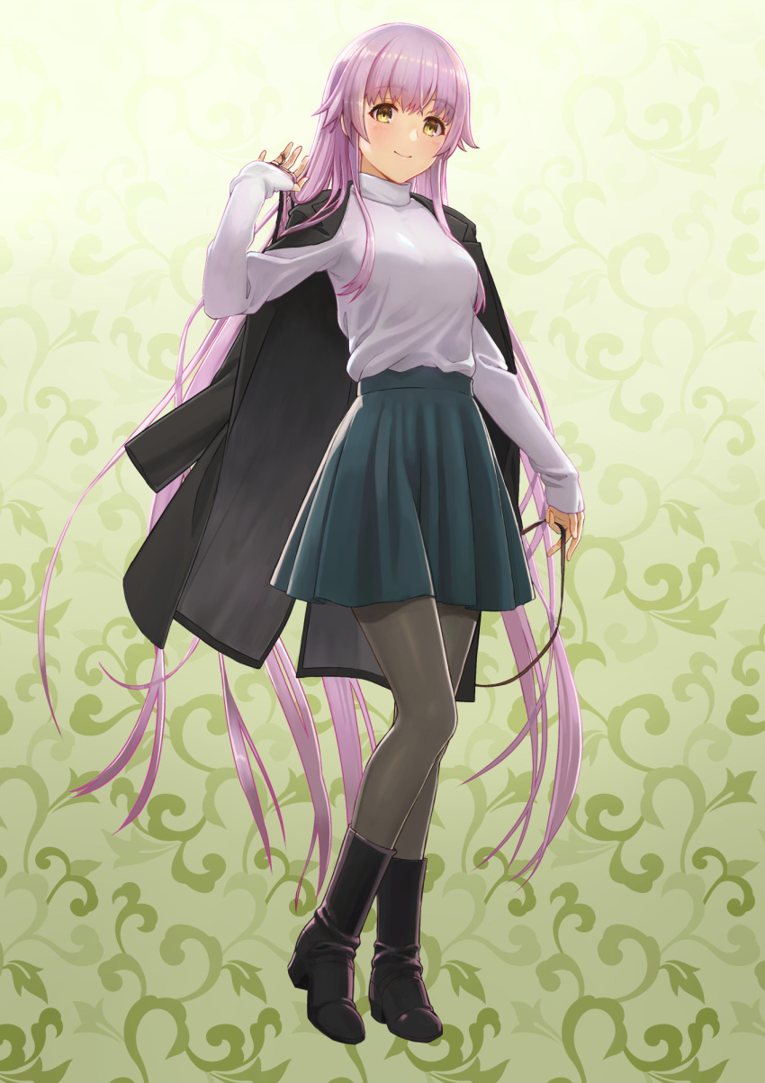 1girl bangs black_footwear black_jacket blue_skirt boots breasts brown_eyes closed_mouth commentary_request eyebrows_visible_through_hair full_body green_background grey_legwear hair_between_eyes highres jacket jacket_on_shoulders kantai_collection long_hair long_sleeves pantyhose pleated_skirt purple_hair shirt skirt sleeves_past_wrists small_breasts smile solo standing tantaka very_long_hair white_shirt yura_(kantai_collection)