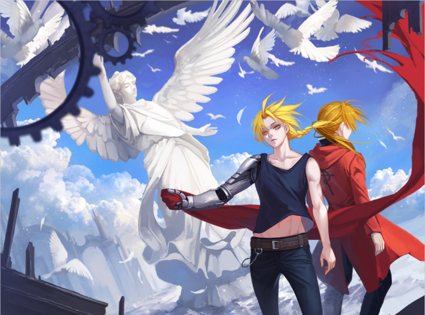 2boys ana_bi animal back-to-back belt belt_buckle bird black_pants blonde_hair blue_pants blue_shirt blue_sky braid buckle character_request clouds coat commentary_request edward_elric feathers floating_hair flying fullmetal_alchemist gears holding hood hood_down long_hair male_focus mechanical_arm multiple_boys pants ponytail red_coat ruins shirt single_braid sky sleeveless sleeveless_shirt standing statue wind yellow_eyes