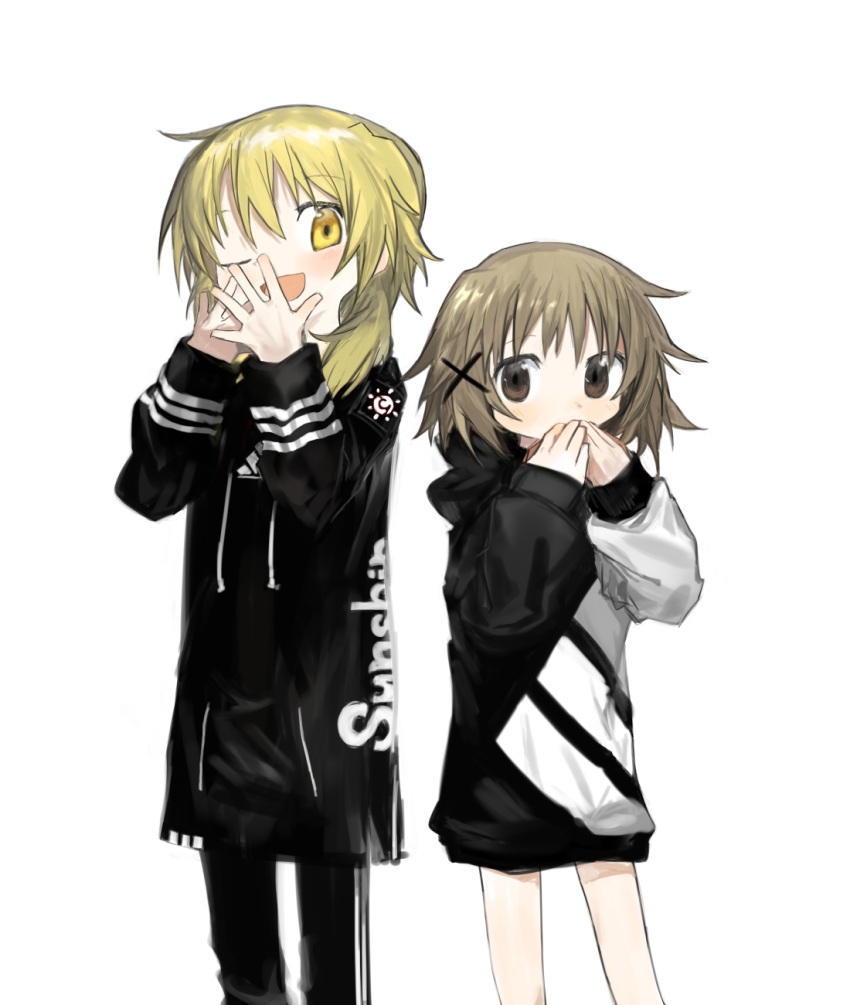2girls adidas bangs black_hoodie black_jacket black_pants blonde_hair blush brown_eyes casual clothes_writing covering_mouth drawstring eyebrows_visible_through_hair hair_ornament hands_up height_difference hidamari_sketch highres hood hood_down hoodie jacket kokaki_mumose light_brown_hair long_sleeves looking_at_viewer medium_hair miyako multiple_girls one_eye_closed open_mouth own_hands_together pants pocket product_placement short_hair simple_background sleeve_cuffs sleeves_past_wrists tareme track_pants white_background x_hair_ornament yellow_eyes yuno