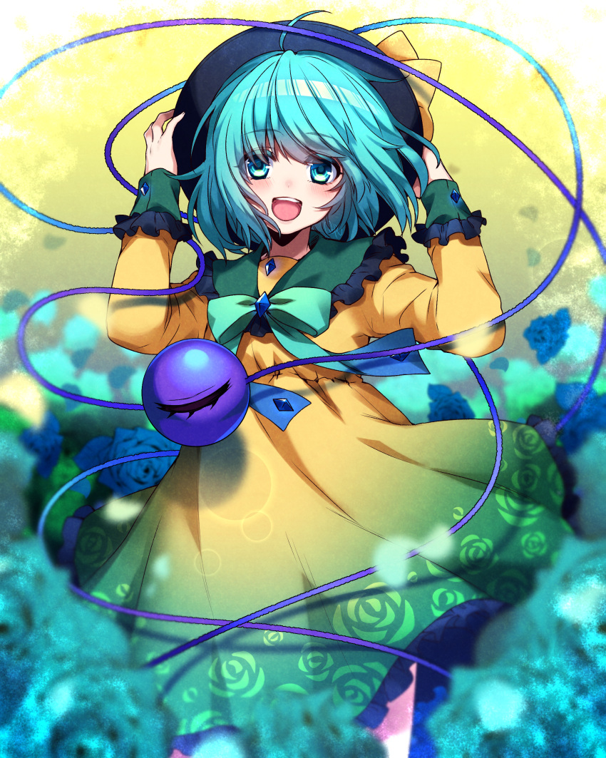 1girl :d absurdres adapted_costume ahoge aqua_eyes aqua_hair arms_up bangs black_frills black_headwear blue_flower blue_rose blush bow collared_dress commentary_request cowboy_shot dress eyeball eyebrows_visible_through_hair floral_print flower frilled_dress frilled_sleeves frills gradient_dress green_bow green_dress hands_on_headwear highres koishi_day komeiji_koishi long_sleeves looking_at_viewer multicolored multicolored_clothes multicolored_dress open_mouth rom rose short_hair smile solo string third_eye touhou wind wind_lift yellow_dress
