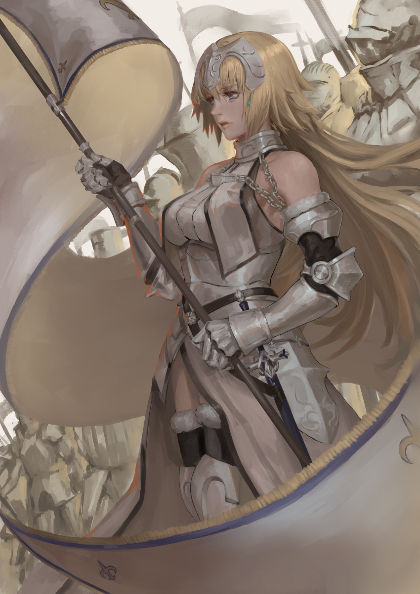 1girl absurdres armor armored_boots armored_dress bangs bare_shoulders black_legwear blonde_hair blue_eyes boots breasts chains closed_mouth commentary dress expressionless fate/apocrypha fate/grand_order fate_(series) faulds flag floating_hair from_side fur-trimmed_gloves fur-trimmed_legwear fur_trim gauntlets gloves hair_between_eyes halterneck hand_up headpiece highres holding holding_flag jeanne_d'arc_(fate) jeanne_d'arc_(fate)_(all) knight large_breasts long_hair looking_away peperon_(peperou) plackart sheath sheathed standard_bearer standing sword thigh-highs weapon white_dress wind wind_lift