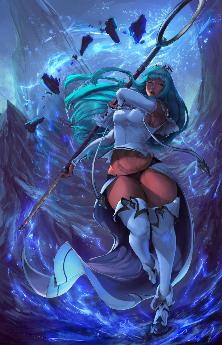 1girl absurdres aqua_hair black_panties blue boots breasts curvy cutesexyrobutts detached_sleeves electricity grey_eyes highres hip_focus huge_filesize large_breasts leg_lift lipstick long_hair looking_at_viewer makeup original paid_reward panties parted_lips patreon_reward red_skin sideboob skirt solo staff thick_thighs thigh-highs thighs underwear very_long_hair white_legwear wide_hips