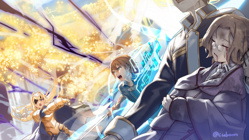 2boys 2girls alice_schuberg armor armored_dress blonde_hair blood blood_from_mouth blue_eyes blue_shirt bow braid braided_ponytail cape cardinal_(sao) closed_eyes collarbone cuboon eugeo eyepatch faulds floating_hair glasses grey_coat hair_bow hair_intakes hairband head_out_of_frame holding holding_sword holding_weapon kirito long_hair multiple_boys multiple_girls open_mouth osmanthus_blade outstretched_arm shirt short_hair single_braid sword sword_art_online twitter_username very_long_hair weapon white_bow white_cape white_hairband