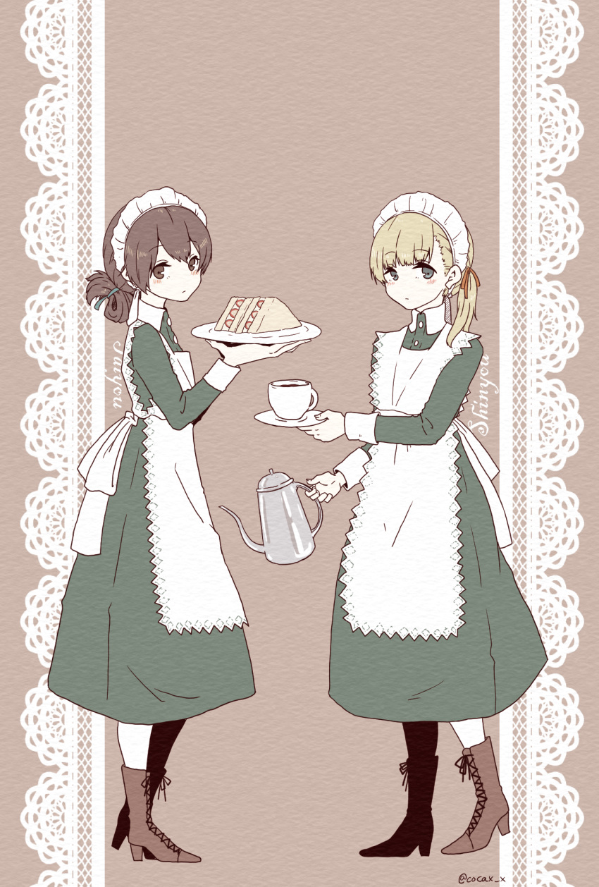 2girls alternate_costume apron bangs blonde_hair blue_eyes blue_ribbon blunt_bangs boots brown_background brown_eyes brown_footwear brown_hair cocax_x cross-laced_footwear cup dress enmaided folded_ponytail food frilled_apron frilled_dress frills full_body green_dress hair_ribbon highres kantai_collection kasuga_maru_(kantai_collection) lace-up_boots lace_background long_hair looking_at_viewer maid maid_headdress matching_outfit multiple_girls pitcher plate ribbon sandwich saucer shin'you_(kantai_collection) side_ponytail swept_bangs taiyou_(kantai_collection) teacup twitter_username white_apron