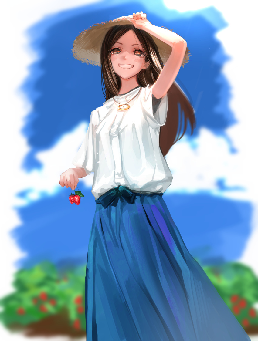 1girl absurdres arm_up bangs blue_skirt blurry blurry_background blush brown_eyes brown_hair commentary_request feet_out_of_frame food fruit grin hand_on_headwear hat highres holding holding_food holding_fruit jewelry long_hair long_skirt looking_at_viewer macaroni_tamago necklace original outdoors parted_bangs shirt short_sleeves skirt sky smile solo standing straw_hat strawberry white_shirt wind