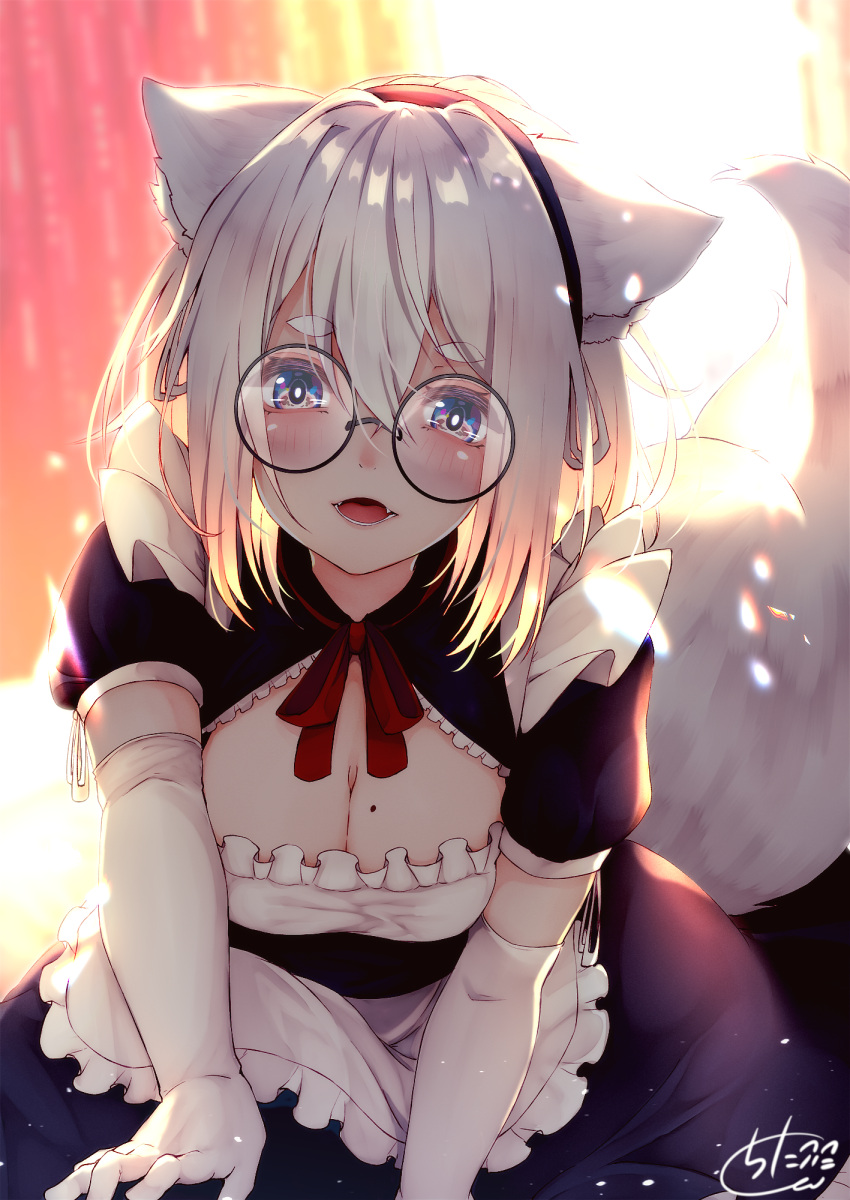 1girl :d animal_ear_fluff animal_ears apron backlighting bangs black-framed_eyewear black_dress black_hairband blue_eyes blurry blurry_background breasts chita_(ketchup) cleavage commentary_request depth_of_field dress elbow_gloves eyebrows_visible_through_hair fangs fox_ears fox_girl fox_tail frilled_apron frills glasses gloves hair_between_eyes hairband highres leaning_forward long_hair maid medium_breasts mole mole_on_breast neck_ribbon open_mouth original puffy_short_sleeves puffy_sleeves red_ribbon ribbon round_eyewear short_sleeves signature silver_hair smile solo tail tail_raised waist_apron white_apron white_gloves