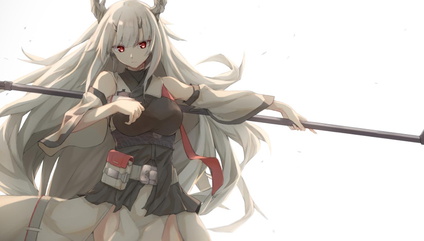1girl arknights bangs bare_shoulders belt breasts cowboy_shot detached_sleeves floating_hair gyuki_(arknights) highres holding holding_staff holding_weapon horns japanese_clothes large_breasts long_hair long_sleeves looking_at_viewer multiple_horns pelvic_curtain pouch red_eyes sidelocks simple_background slit_pupils solo staff very_long_hair weapon white_background white_hair wide_sleeves