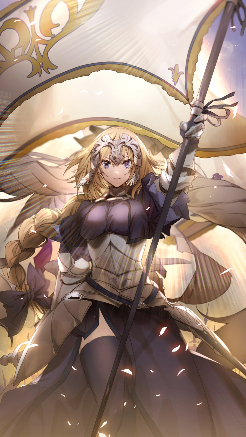 1girl arm_up armor armored_dress bangs banner black_legwear blonde_hair bow braid breasts bridal_gauntlets capelet closed_mouth dress fate/grand_order fate_(series) faulds flag gauntlets gloves glowing_petals hair_bow hair_ribbon headpiece highres holding holding_sword holding_weapon jeanne_d'arc_(fate) jeanne_d'arc_(fate)_(all) large_breasts light long_braid looking_at_viewer no-kan petals plackart purple_bow purple_dress purple_legwear ribbon single_braid skirt solo standard_bearer standing sword thigh-highs violet_eyes weapon yellow_background
