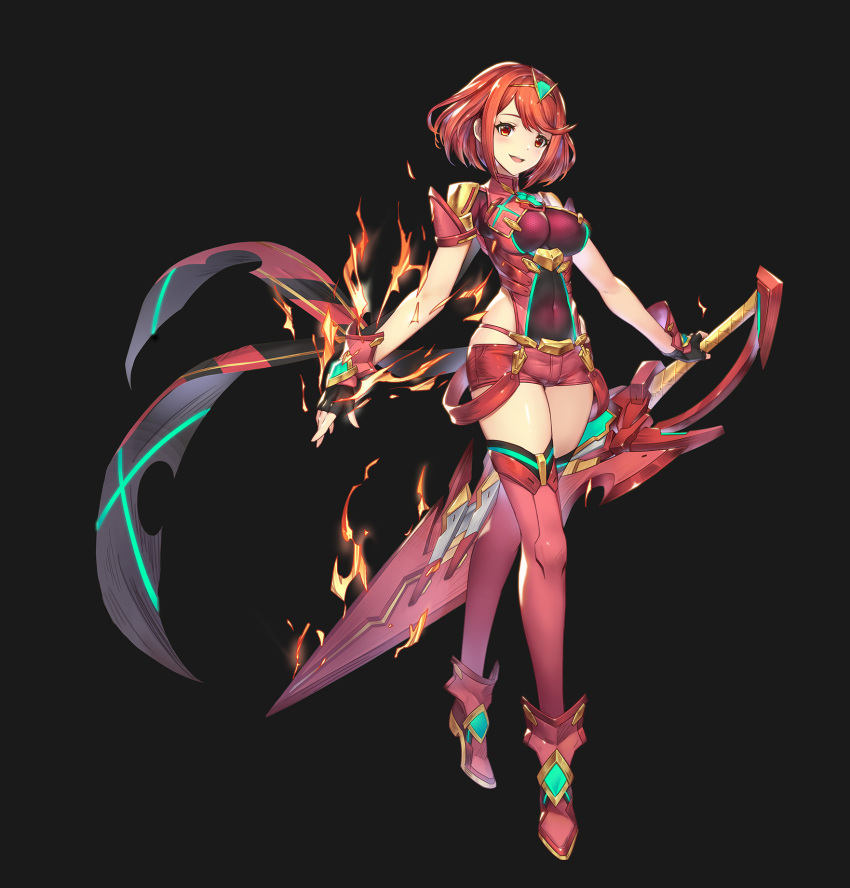 1girl alpaca_sama armor bangs black_background blush boots breasts commentary covered_navel fingerless_gloves fire full_body gem gloves hair_ornament headpiece highres holding holding_sword holding_weapon homura_(xenoblade_2) jewelry large_breasts open_mouth pose red_eyes red_shorts redhead short_hair short_shorts shorts shoulder_armor simple_background smile solo swept_bangs sword thigh-highs tiara weapon xenoblade_(series) xenoblade_2