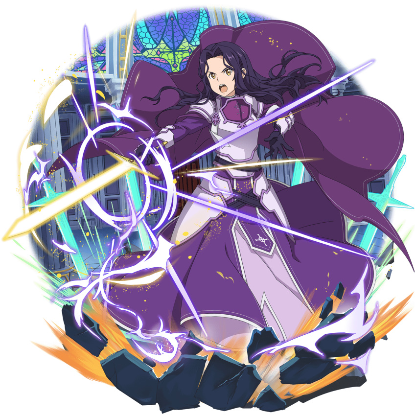 1girl :d armor armored_dress black_gloves cape dress fanatio_synthesis_two faulds floating_hair full_body gloves highres holding holding_sword holding_weapon long_hair official_art open_mouth purple_cape purple_dress purple_hair smile solo standing sword sword_art_online transparent_background v-shaped_eyebrows weapon yellow_eyes