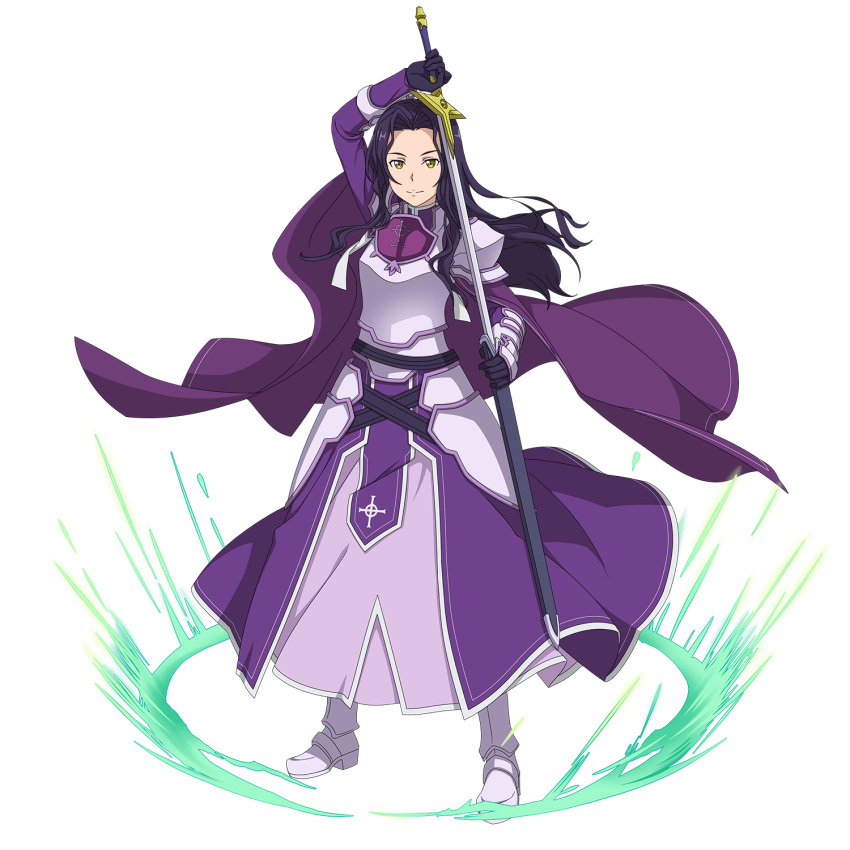1girl armor armored_boots armored_dress black_gloves boots cape dress fanatio_synthesis_two faulds floating_hair full_body gloves green_eyes highres holding holding_sheath holding_sword holding_weapon long_hair looking_at_viewer official_art purple_cape purple_dress purple_hair sheath shoulder_armor smile solo spaulders standing sword sword_art_online transparent_background unsheathing weapon